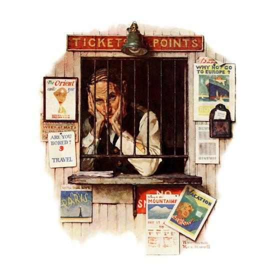 """Ticket Agent"", April 24,1937-Norman Rockwell-Giclee Print"