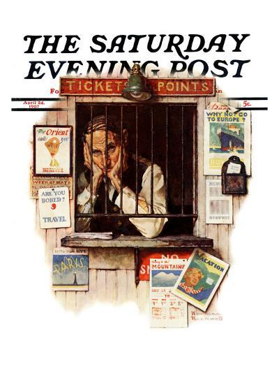 """""""Ticket Agent"""" Saturday Evening Post Cover, April 24,1937-Norman Rockwell-Giclee Print"""