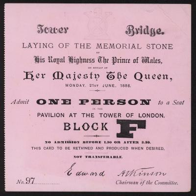 Ticket for the Laying of the Memorial Stone at Tower Bridge, London, 21 June 1886--Giclee Print
