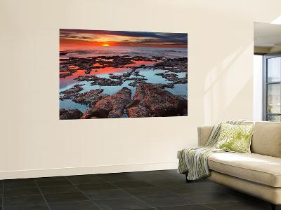 Tidal Pools Reflect the Sunrise Colors During the Autumn Equinox-Stocktrek Images-Wall Mural