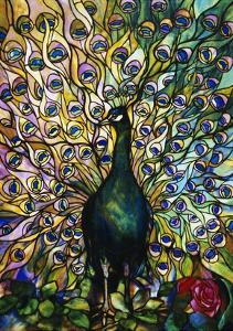 Fine Peacock Leaded Glass Domestic Window by Tiffany Studios