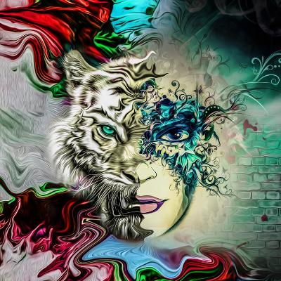 Tiger and Face-reznik_val-Art Print