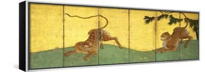 Tiger and Leopard Among Bamboo--Framed Stretched Canvas Print