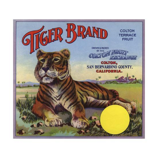 Tiger Brand - Colton, California - Citrus Crate Label-Lantern Press-Art Print