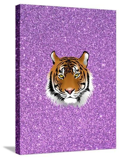 Tiger Cat With Purple Glitter-Wonderful Dream-Stretched Canvas Print