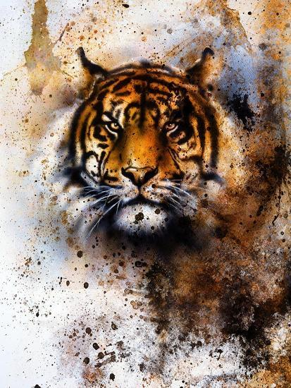 Tiger Collage On Color Abstract Background Rust Structure Wildlife Animals Eye Contact Art Print By Jozef Klopacka