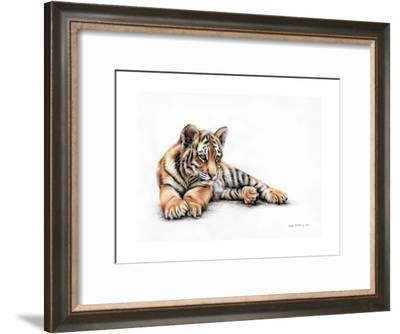 Tiger Cub Colour Pencil Drawing-Sarah Stribbling-Framed Art Print