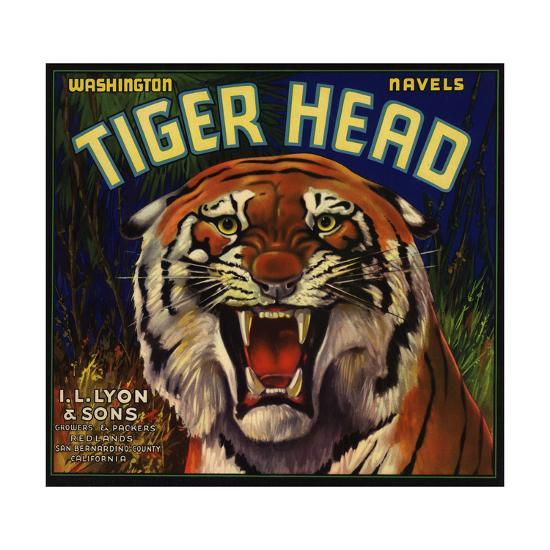 Tiger Head Brand - Redlands, California - Citrus Crate Label-Lantern Press-Art Print