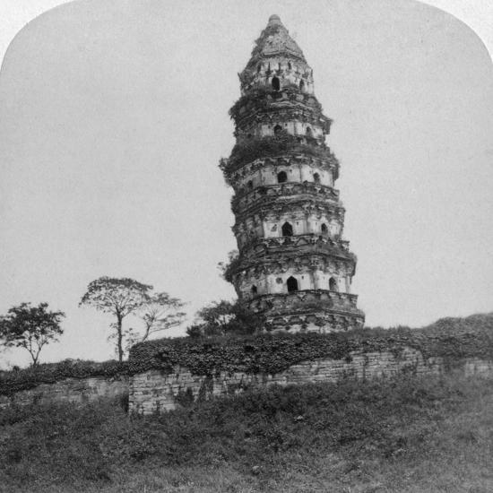 Tiger Hill Pagoda, the 'Leaning Tower, of Soo-Chow' (Suzho), China, 1900-Underwood & Underwood-Photographic Print
