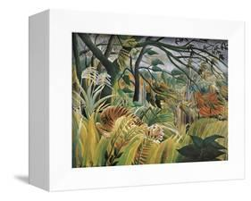 Tiger in a Tropical Storm (Surprised!)-Henri Rousseau-Framed Stretched Canvas
