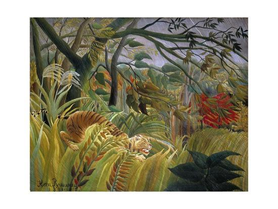 Tiger in a Tropical Storm (Surprised!)-Henri Rousseau-Giclee Print