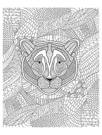 Tiger & Jungle Design Coloring Art--Coloring Poster