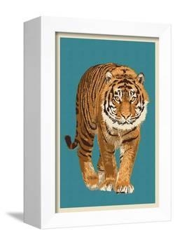 Tiger - Letterpress-Lantern Press-Framed Stretched Canvas