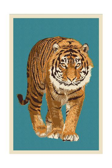 Tiger - Letterpress-Lantern Press-Art Print