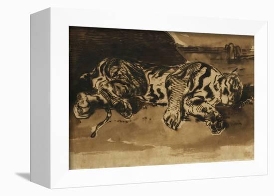 Tiger Lying Down; Tigre Couche, 1858-Eugene Delacroix-Framed Premier Image Canvas