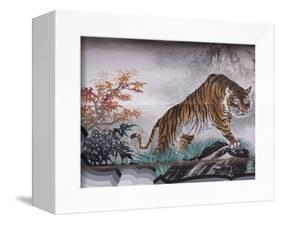 Tiger Painting on Outdoor Corridors, Zhongshan Park, Beijing, China-Adam Jones-Framed Premier Image Canvas