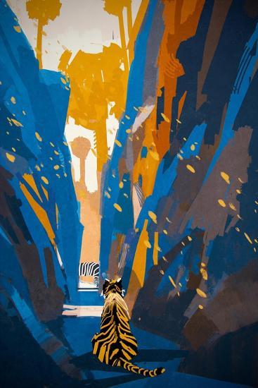 Tiger Stalking in Narrow Rock Wall,Illustration Digital Painting-Tithi Luadthong-Art Print