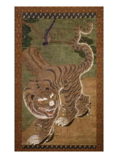 Tiger with Cubs, Ink on Silk, 18th Century, Choson Dynasty, Korea--Giclee Print