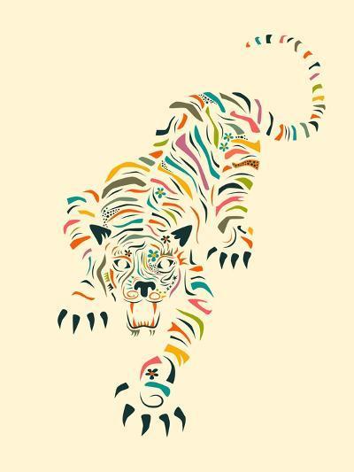 Tiger-Jazzberry Blue-Art Print