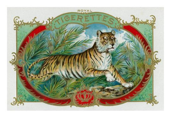 Tigerettes Brand Cigar Box Label-Lantern Press-Art Print