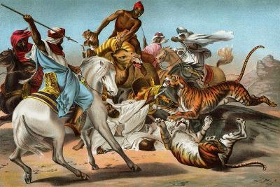 Tigers Attacking an Arab Caravan in the Desert--Giclee Print