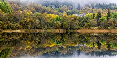 Tigh Mor Castle Peaks Out from Autumn Colors Reflected in Loch Achray Trossachs, Scotland-Jonathan Irish-Photographic Print