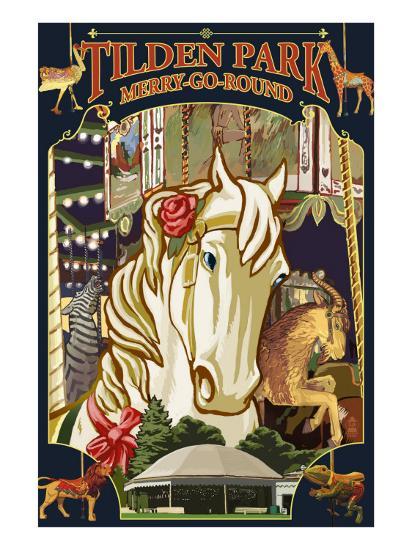 Tilden Park Merry Go Round - California-Lantern Press-Art Print
