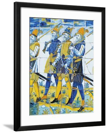 Tile Depicting Soldiers from Spanish Army--Framed Giclee Print