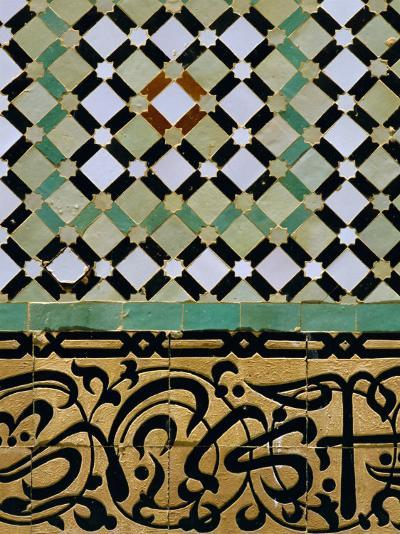 Tile Detail, Bou Inania Medersa, Meknes, Marocco, North Africa-Bruno Morandi-Photographic Print