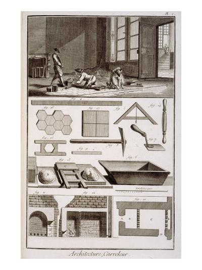Tile-laying, from Diderot's 'Encyclopedie', 1751-72--Giclee Print