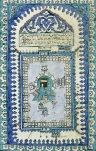Tile with a Plan View of the Masjid Al-Haram, or Great Mosque, At Mecca, c.1666