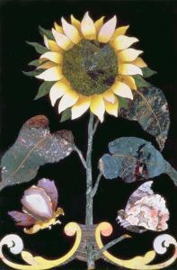 Tile with a Sunflower Design