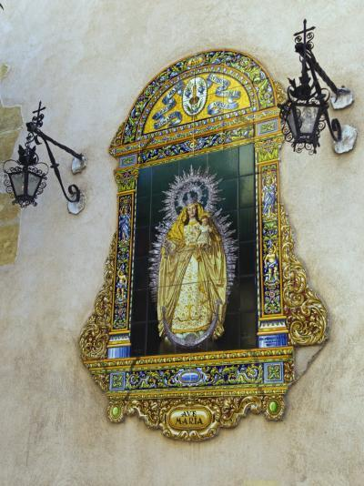 Tiled Picture of Mary and Jesus on a Street in Seville, Spain-John Warburton-lee-Photographic Print