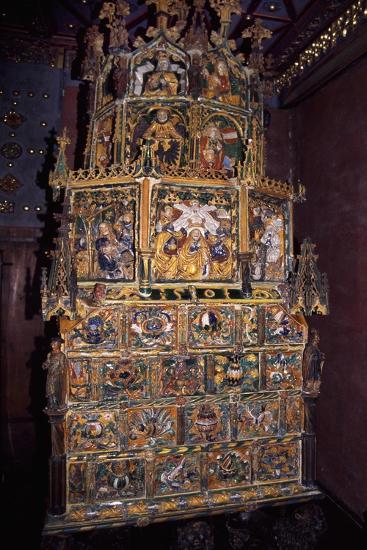 Tiled Stove in Golden Hall, Hohensalzburg Castle, Salzburg, Austria--Giclee Print