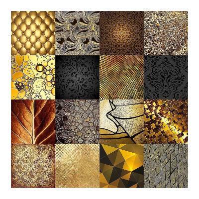 Tiles Decor Gold-GraphINC-Art Print