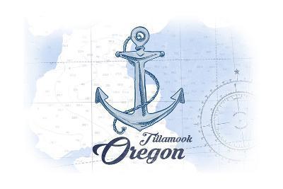 Tillamook, Oregon - Anchor - Blue - Coastal Icon-Lantern Press-Art Print