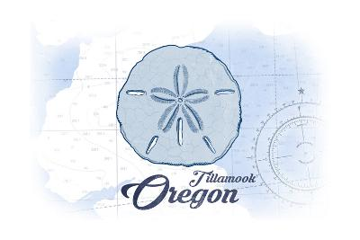 Tillamook, Oregon - Sand Dollar - Blue - Coastal Icon-Lantern Press-Art Print