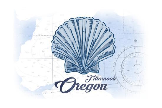Tillamook, Oregon - Scallop Shell - Blue - Coastal Icon-Lantern Press-Art Print
