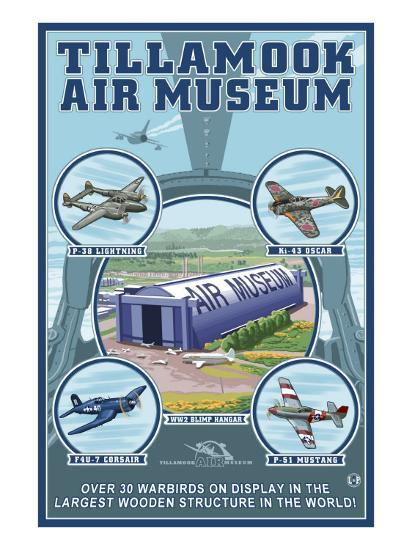 Tillamook, Oregon, Tillamook Air Museum Collage-Lantern Press-Art Print