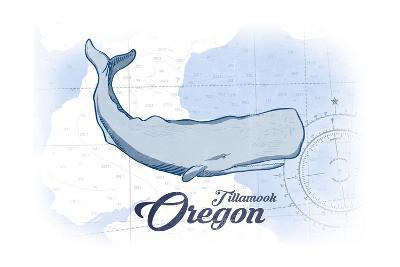 Tillamook, Oregon - Whale - Blue - Coastal Icon-Lantern Press-Art Print