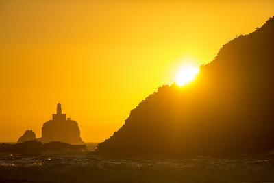 Tillamook Rock Lighthouse Silhouetted by Sunset, Ecola Sp, Oregon-Chuck Haney-Photographic Print