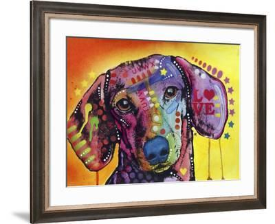 Tilt Dachshund Love, Dogs, Animals, Pets, Red Yellow, Doxie, Loving, Drips, Pop Art, Colorful-Russo Dean-Framed Giclee Print