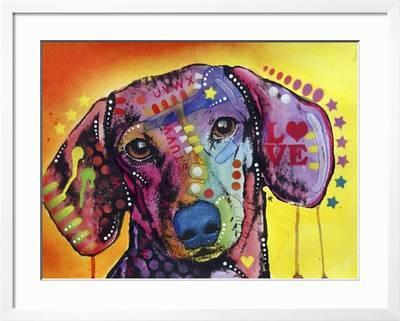 Tilt Dachshund Love Dogs Animals Pets Red Yellow Doxie Loving Drips Pop Art Colorful Giclee Print Russo Dean Art Com