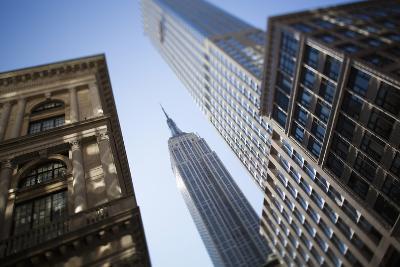 Tilt Shift Lens Image - Looking Up at Sykscrapers in Manhattan, New York. USA-Design Pics Inc-Photographic Print