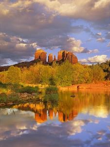 Cathedral Rock reflected in Oak Creek at Red Rock Crossing, near Sedona, Arizona by Tim Fitzharris