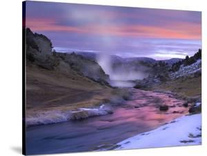 Hot Creek at sunset, natural hot spring in Mammoth Lakes region, eastern Sierra Nevada, California by Tim Fitzharris