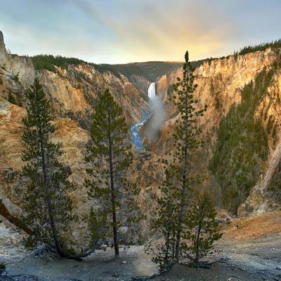 Lower Yellowstone Falls and Yellowstone River at Grand Canyon, Yellowstone