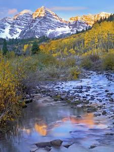 Maroon Bells and Maroon Creek, Colorado by Tim Fitzharris/Minden Pictures