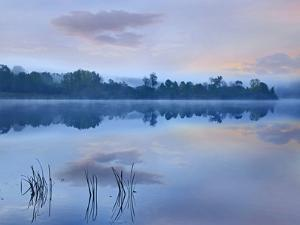 Mist over Lackawanna Lake, Lackawanna State Park, Pennsylvania by Tim Fitzharris/Minden Pictures