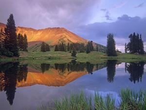 Mount Baldy at Sunset Reflected in Lake Along Paradise Divide, Colorado by Tim Fitzharris/Minden Pictures